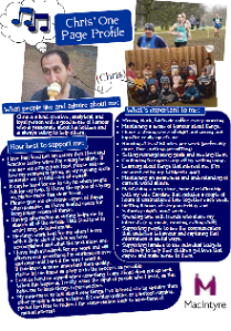 Chris' one-page profile