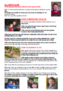 Alfie's one-page profile