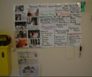 A photo of Laurine's one-page profile on the wall in  the hospital