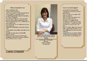 Tracey Chappell from Merry Hill House one-page profile