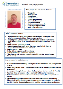 Support Worker Marie's one-page profile