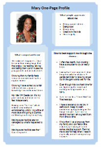 Mary's one-page profile