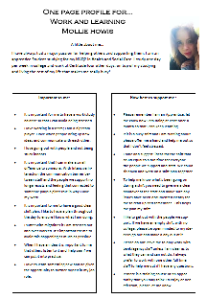 Mollie's one-page profile