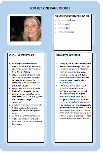 Sophie's one-page profile