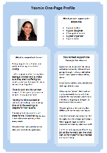 Yasmin's one-page profile