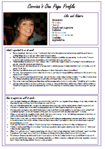 Corrina's one-page profile